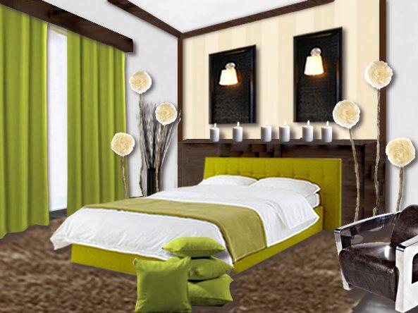 Une chambre vert nature floriane lemari for Decoration chambre vert et marron