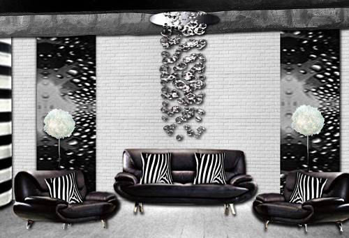 ambiance noir et blanc pour ce salon habille de bulles. Black Bedroom Furniture Sets. Home Design Ideas