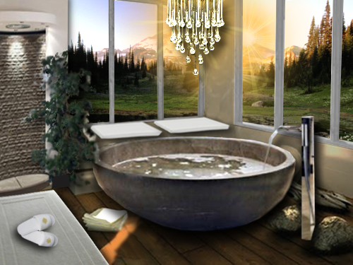 salle de bain ouverte sur l 39 ext rieur floriane lemari. Black Bedroom Furniture Sets. Home Design Ideas