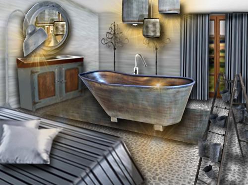 Une chambre ouverte sur la salle de bain toute de zinc for Chambre salle de bain ouverte