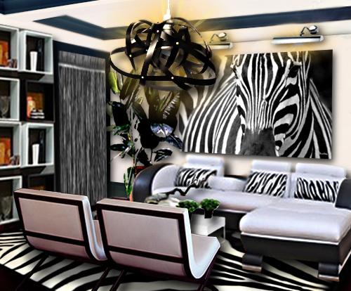Un salon noir et blanc inspiration z bre floriane lemari - Idee peinture salon noir et blanc ...