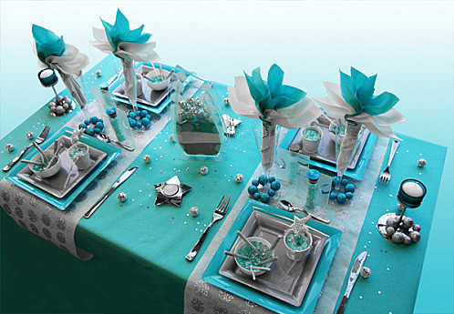 déco de table gris et bleu #3
