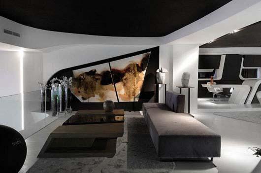 Un magasin futuriste en noir et blanc madrid floriane for Interieur noir et blanc