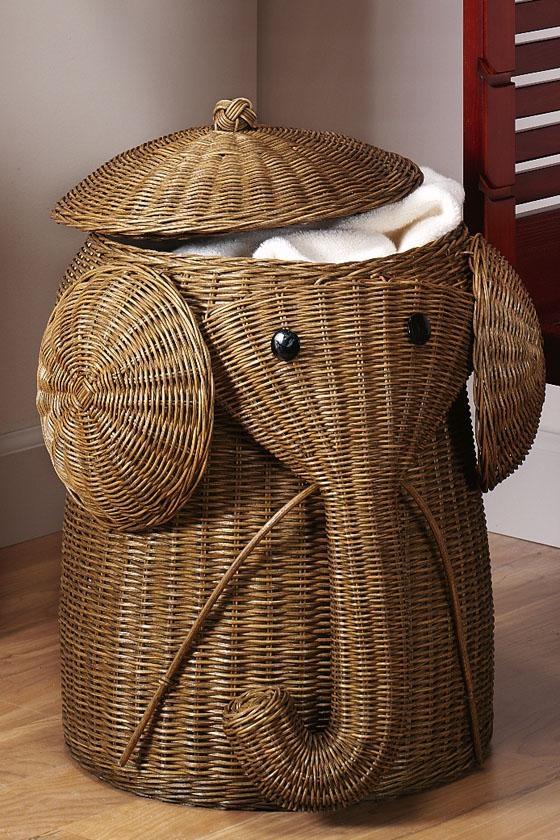 l 39 id e d co du dimanche un panier linge l phant. Black Bedroom Furniture Sets. Home Design Ideas