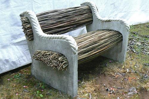 L 39 id e d co du dimanche un banc de jardin avec du b ton et des brindilles floriane lemari for Banc de jardin original