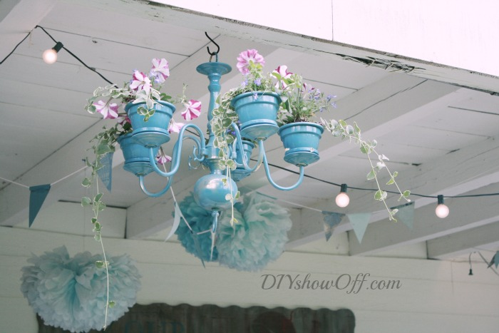 diy fabriquer un lustre chandelier pots de fleurs floriane lemari. Black Bedroom Furniture Sets. Home Design Ideas