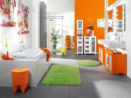 idee deco salle de bain - Salle De Bain Fushia Et Vert