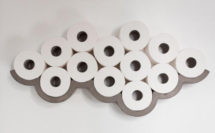 L 39 id e d co du samedi une tag re en b ton pour papier - Porte rouleau papier toilette design ...