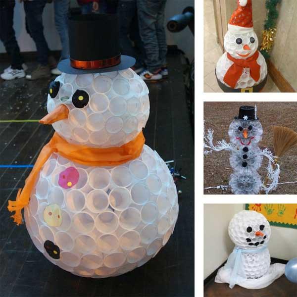 L 39 id e d co du samedi un bonhomme de neige avec des gobelets en plastique floriane lemari - Bonhomme de neige en gobelet plastique ...