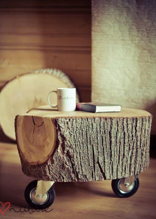Diy fabriquer une table de nuit avec un tronc et des roulettes floriane l - Fabriquer table de nuit ...