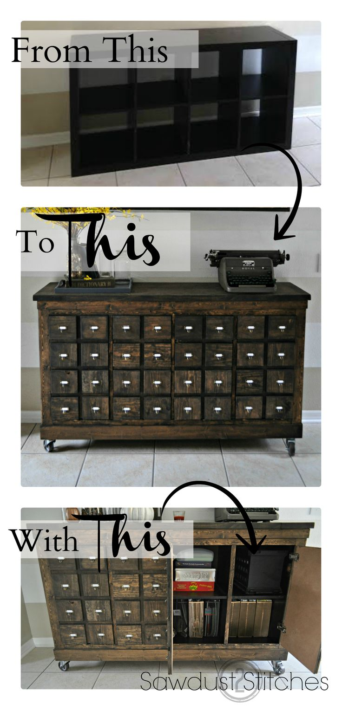 L 39 id e d co du dimanche transformer une tag re ikea en meuble tiroir - Transformer un meuble ...