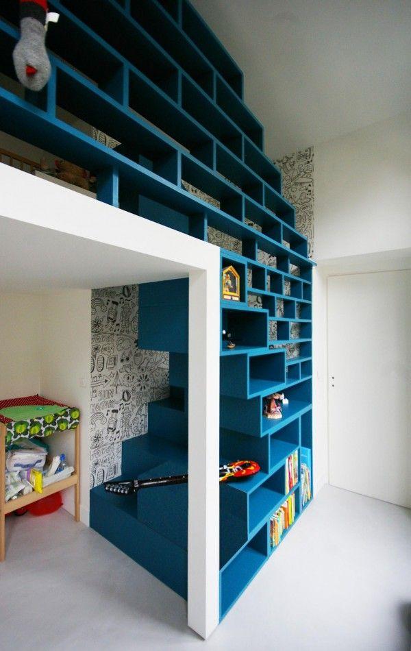 escalier en cube pour mezzanine cheap enfant gain de. Black Bedroom Furniture Sets. Home Design Ideas
