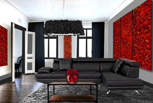 un salon moderne en rouge et noir floriane lemari. Black Bedroom Furniture Sets. Home Design Ideas