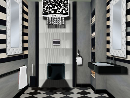 des toilettes chic dans une ambiance contemporaine. Black Bedroom Furniture Sets. Home Design Ideas