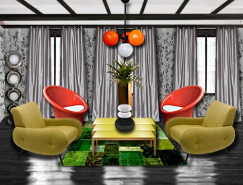 Salon vintage floriane lemari - Deco salon retro ...