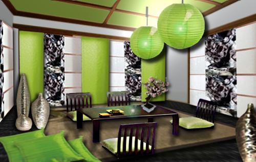 ambiance japonaise pour ce salon zen aux couleurs de la nature