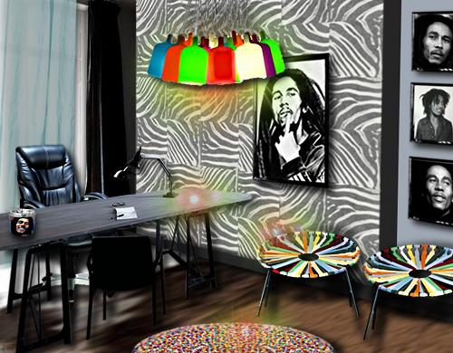 Décoration d'un bureau à l'effigie de Bob Marley par Floriane Lemarié
