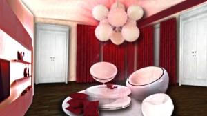 Salon design blanc et rouge par Floriane Lemarié