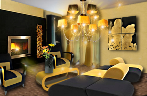 un salon chic en jaune et noir floriane lemari. Black Bedroom Furniture Sets. Home Design Ideas