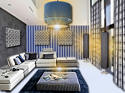 id e d co un salon vichy bleu et blanc floriane lemari. Black Bedroom Furniture Sets. Home Design Ideas