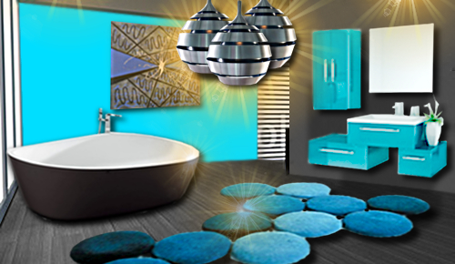 une salle de bain bleue tr s design floriane lemari. Black Bedroom Furniture Sets. Home Design Ideas