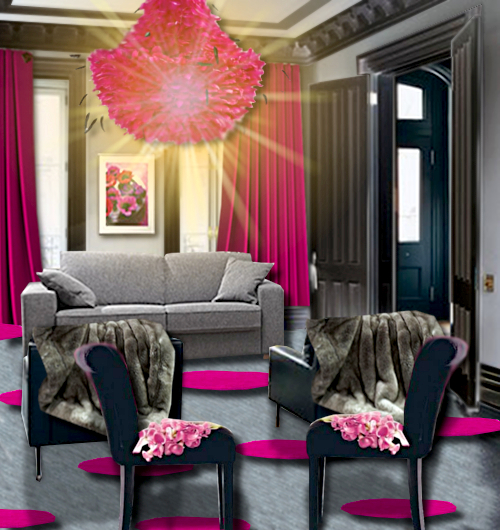 Un salon rose et gris floriane lemari for Decoration chambre gris et fushia