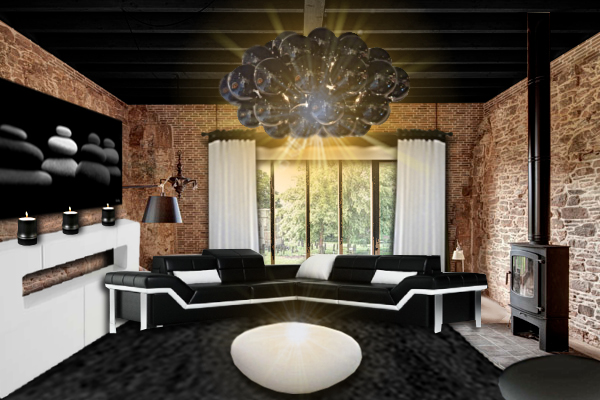 id e d co salon noir et briques floriane lemari. Black Bedroom Furniture Sets. Home Design Ideas