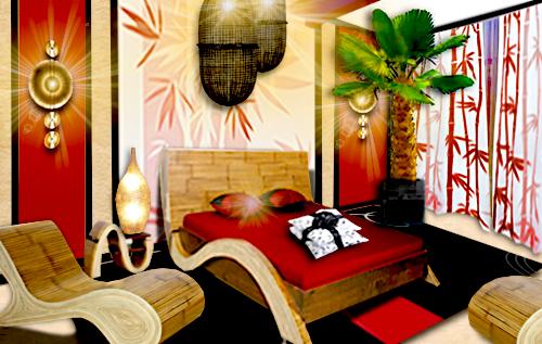 Une chambre bambou floriane lemari - Tete de lit en bambou ...