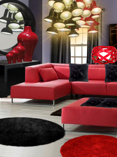 un salon lumineux en rouge et noir floriane lemari. Black Bedroom Furniture Sets. Home Design Ideas