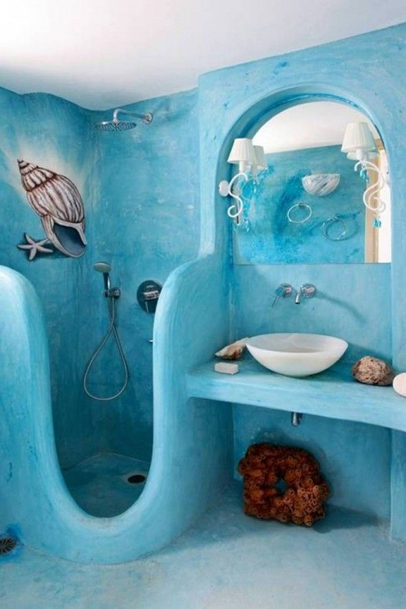 salle de bain bleu turquoise mermaid beach themed bathroom ideas - Decoration Salle De Bain Bleu