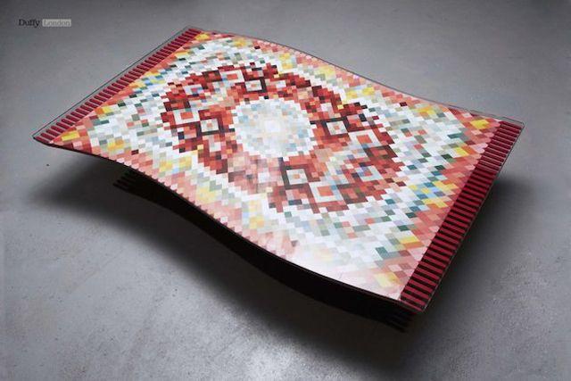 Design table tapis volant