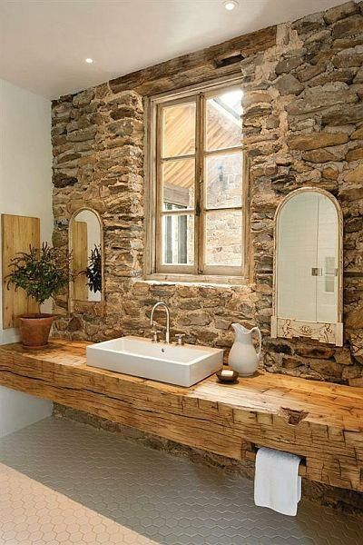 Du rustique dans la salle de bain floriane lemari - Pinterest salle de bain ...