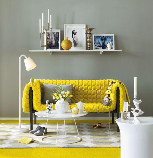 gris et jaune un peu de soleil dans les int rieurs. Black Bedroom Furniture Sets. Home Design Ideas