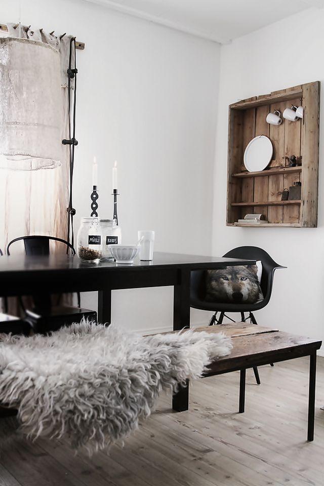 Décoration noir et bois