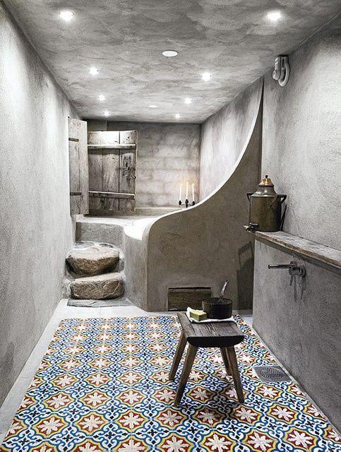 Les carreaux de ciment habillent la salle de bain for Peindre les carreaux de salle de bain