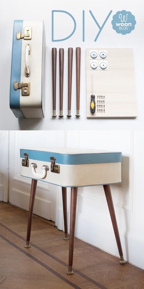 Décoration console DIY valise vintage
