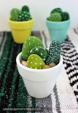 Décoration cactus galets