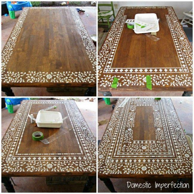 Décoration table pochoir