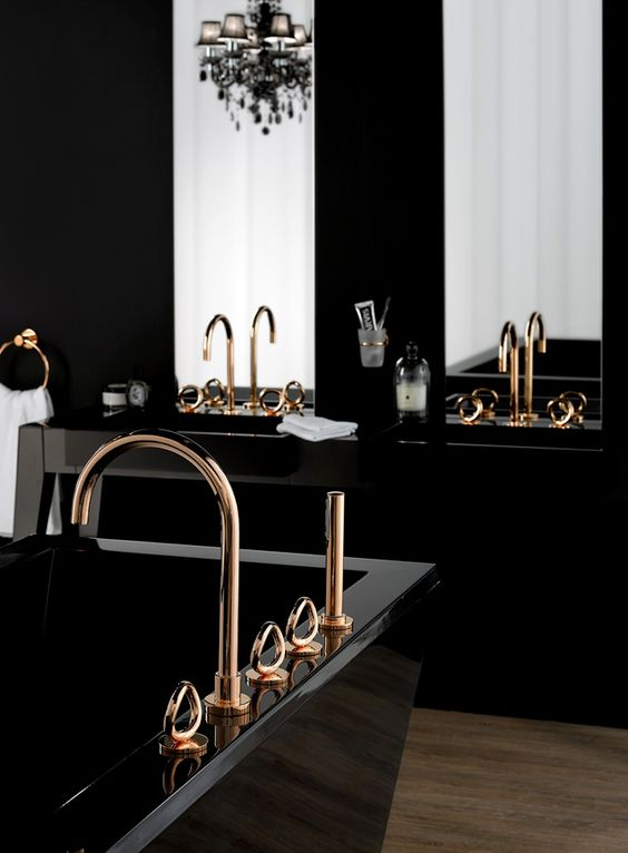 Des salles de bain noir et or floriane lemari for Black gold interior design