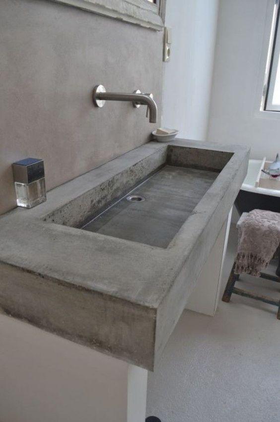 Décoration salle de bain béton
