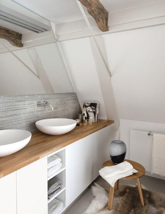 des salles de bain tout en blanc et bois - floriane lemarié - Salle De Bains Blanche