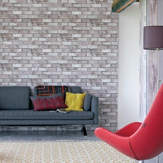 diy cr er un mur de briques avec du papier peint floriane lemari. Black Bedroom Furniture Sets. Home Design Ideas