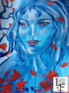 Bleu de cuivre  Aquarelle sur papier