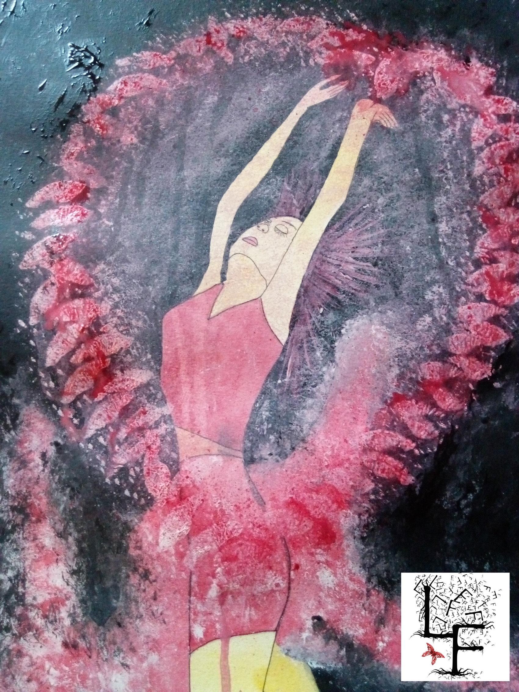Coeur de femme  Aquarelle et acrylique sur papier