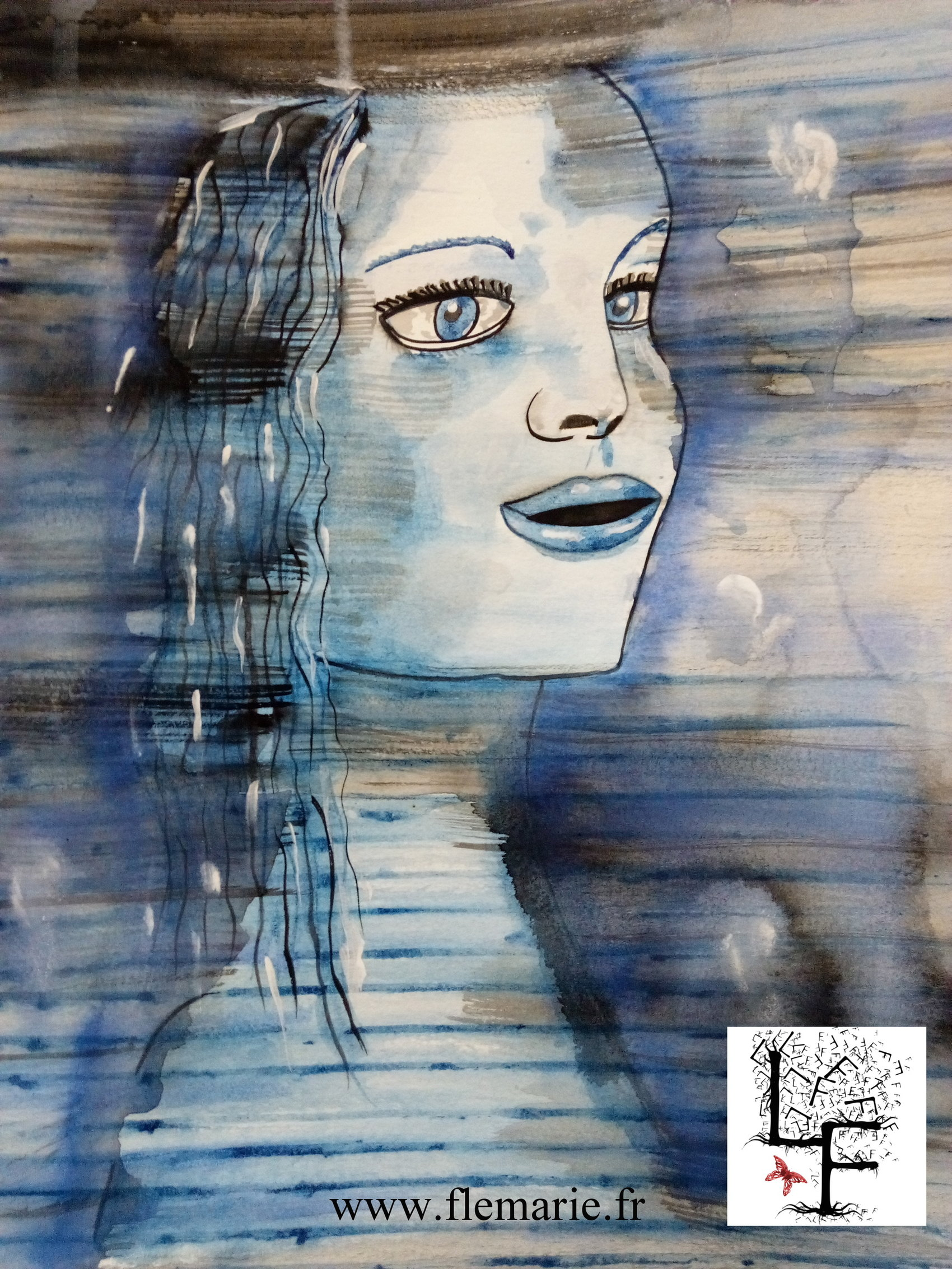 Dans le vent bleu  Aquarelle sur papier