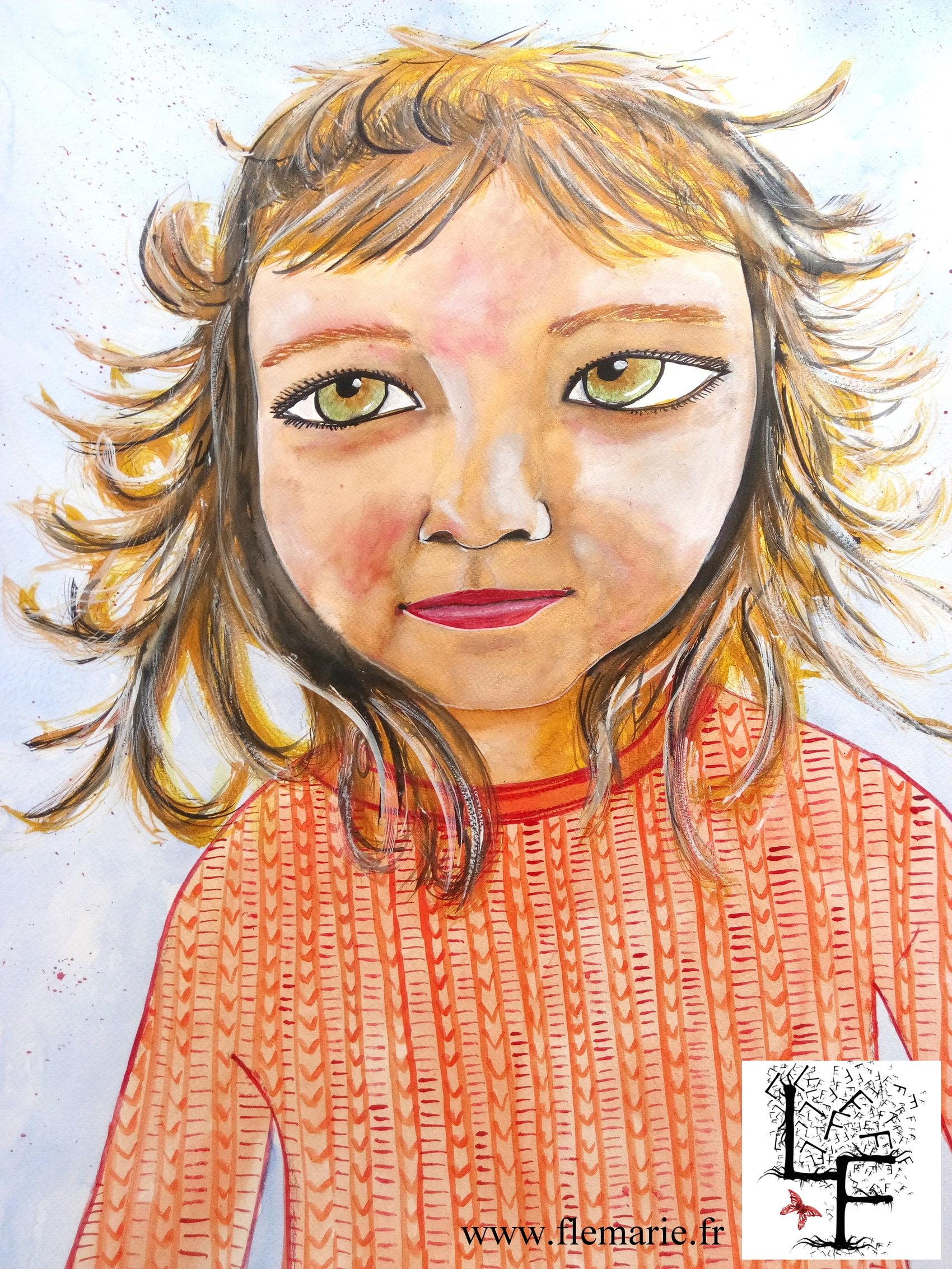Diane  Aquarelle sur papier A2 300g/m2