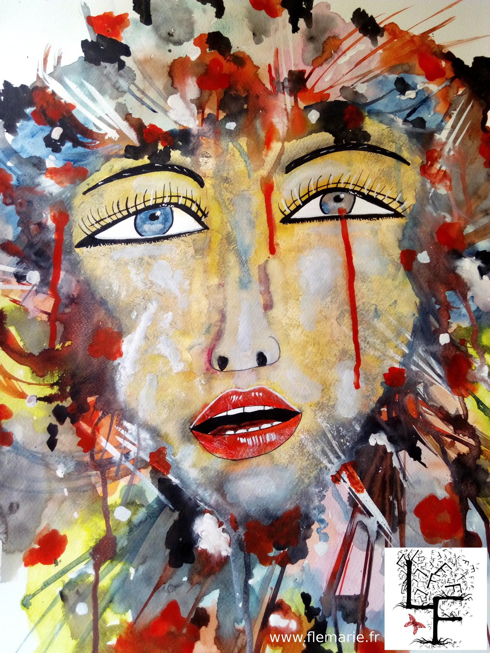 Femme Christ  Aquarelle sur papier A2 300g/m2