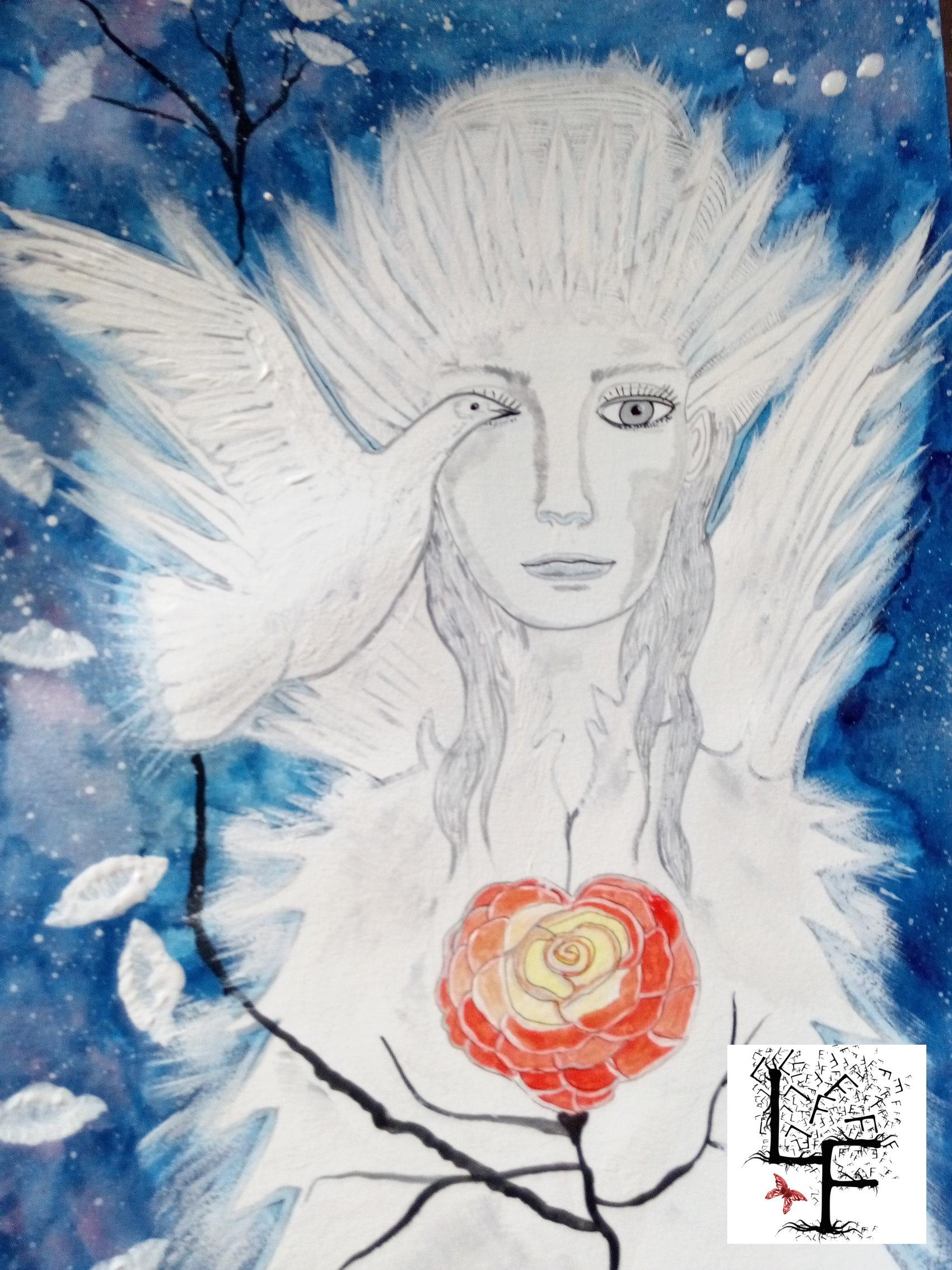 Femme colombe  Aquarelle et gouache sur papier