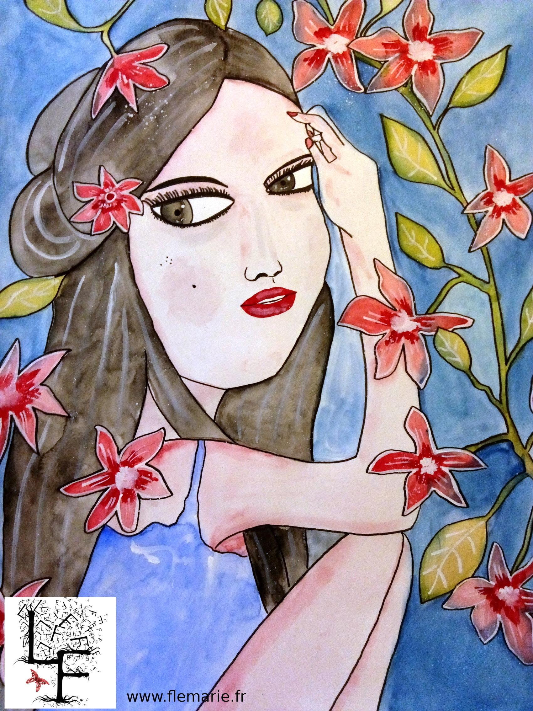Femme enfant  Aquarelle sur papier A2 300g/m2