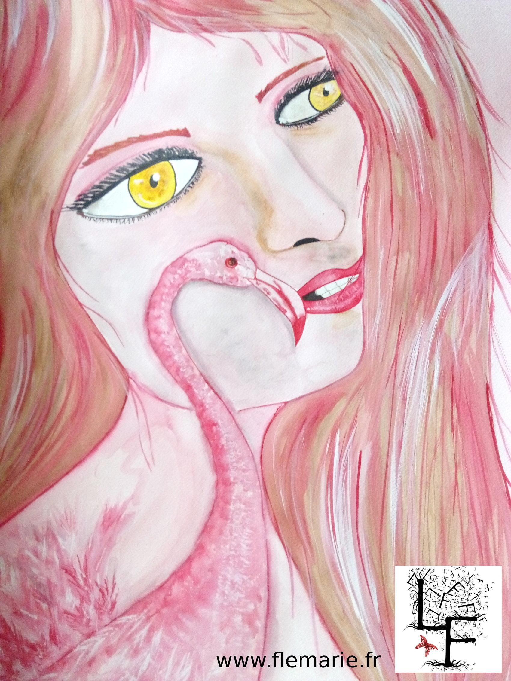 Femme et flamant  Aquarelle sur papier A2 300g/m2